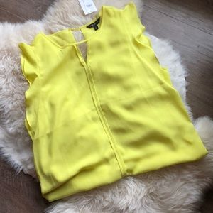 Bright Yellow Cap-Sleeve Blouse
